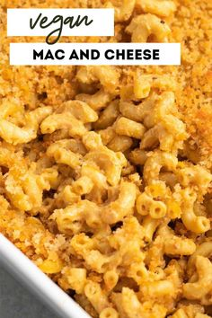 This homemade vegan mac and cheese is baked to perfection! The dairy-free cheese sauce is super creamy and rich, and is totally nut-free and soy-free. Enjoy for your holiday dinners as a side dish, or as the main meal. Quick Vegan Meals, Best Vegan Recipes, Vegetarian Recipes Easy, Vegan Dinners, Dairy Free Recipes, Healthy Recipes, Favorite Recipes, Dairy Free Mac And Cheese, Spinach Mac And Cheese