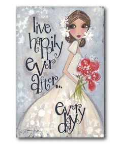 This 'Happily Ever After' Whimsical Girl Canvas is perfect! #zulilyfinds