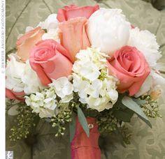 coral rose, white hydrangeas= bride bouquet