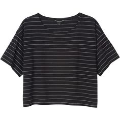 Monki Donna top ($11) ❤ liked on Polyvore featuring tops, t-shirts, shirts, crop tops, sleek stripes, cropped shirts, tee-shirt, boxy crop tops, striped top and boxy t shirt