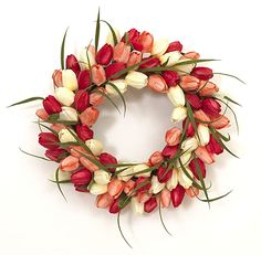 Ten Waterloo 22 Inch Dogwood Blossom Wreath with Pussy Willow Buds Artificial Floral Spring and Summer Wreath