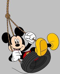 Mickey having lots of fun in the tire swing Cartoon Wallpaper Iphone, Mickey Mouse Wallpaper, Cute Disney Wallpaper, Mickey Mouse Pictures, Mickey Mouse And Friends, Minnie Mouse, Disney Kunst, Arte Disney, Disney Art