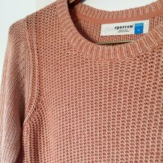 {Anthropologie} Sparrow Peach Knit Sweater Cotton/acrylic sweater by Sparrow in great condition. Size medium. Anthropologie Sweaters Crew & Scoop Necks