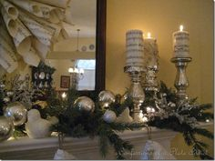 CONFESSIONS OF A PLATE ADDICT: Mercury Glass, Sheet Music and Burlap...My Christmas Mantel!