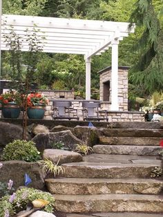 outdoor kitchen with a wood pergola ideas built on a slope - Google Search LOVE IT!