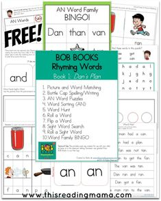 FREE BOB BOOKS Rhyming Words Printables for Book 1 {Dan's Plan} and Book 2 {Cam's Snack} | This Reading Mama