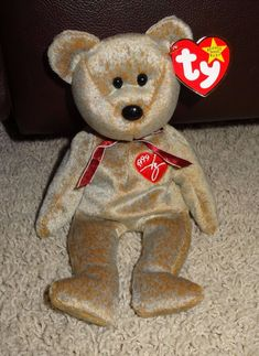01308b24da9 TY Beanie Baby 1999 Signature Brown Bear PE Pellets 1999 EUC Mint - JB  Ty