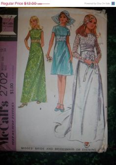 SALE 1970's McCall's Sewing Pattern 2702 Size 12 by EarthToMarrs, $9.60