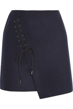 VANESSA BRUNO Lace-up wool-blend felt skirt
