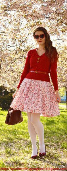 Georgiana Quaint | Modern take on 1950s fashion silhouette | red outfit | fashion blog | handmade dress by me | DIY dress | More on:  http://quaintrelle-georgiana.blogspot.cz/2016/05/toile-de-jouy-dress.html