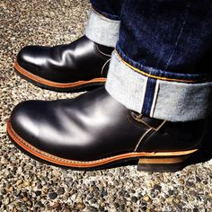 [IMG] Denim Fashion, Fashion Boots, Engineer Boots, Shoe Sites, Rugged Style, Motorcycle Boots, Outdoor Outfit, Leather Shoes, Men's Shoes