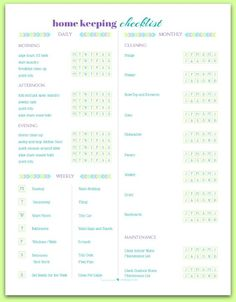free printable home keeping checklist, or cleaning schedule | ScatteredSquirrel.com