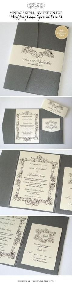 Vintage Wedding Invitation in Pewter Grey and Ivory. Pewter Grey Metallic Pocket folder with Belly Band. Invitation and RSVP Cards printed on Ivory metallic card stock. Perfect Elegant Invitation for a Vintage Wedding or Event. www.embellishedpaperie.com by eileen #weddinginvitationsvintageelegant