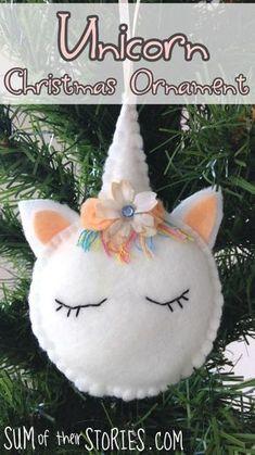 Tutorial and pattern: Felt unicorn Christmas ornament