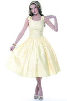 Eyelet It Be Yellow Swing Dress With Bow Ties - Unique Vintage - Homecoming Dresses, Pinup & Prom Dresses.