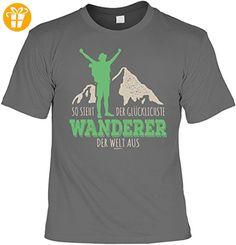 Fun T-Shirt - Wandern Hobby Motiv - So sieht der glücklichste Wanderer der Welt aus - Unisex, Farbe: anthrazit - Shirts mit spruch (*Partner-Link)