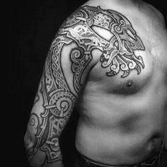 Stunning Black Nordic Tattoo Tribal Male Full Sleeve