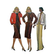 1980s Vogue 7782 Woman's Jacket and Dress Sz 12 by patternmemories