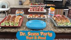 Dr. Seuss themed food ideas:  Green Eggs (deviled eggs)  and Ham (ham sandwiches), Go Dog Go Apple Slices with grapes.  Sliced Strawberries and bananas for Cat in The Hat hats.  Gold Fish, Swedish Fish for One Fish Two FIsh.