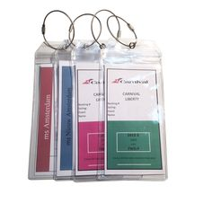 Our cruise ship tag holder includes a zip top seal enclosure. This protects your e-tags or small document from rain or falling out. We have paired this with an extra thick clear soft PVC plastic and stainless steel metal loop.