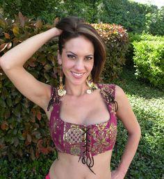 silk sari ats®tribal corset choli top~ - Thumbnail 1