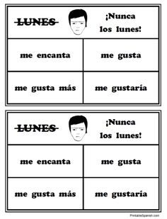 ¡Nunca los lunes! gustar verbs & verb phrases game FREE from PrintableSpanish.com