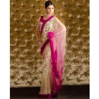 Nude and Fuchsia Sari with Velvet Border and Beaded Blouse by Pam Mehta