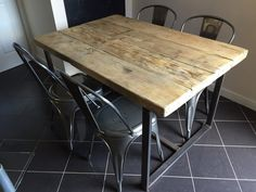 Reclaimed Industrial Chic 4-6 Seater Solid Wood and Metal Dining Table.Bar and Cafe Bar Restaurant Furniture Steel and Wood Made to Measure