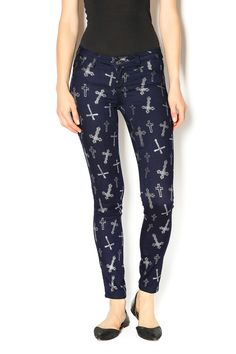 Dark blue vintage wash skinny leggings with silver crosses. Match with a cute tank or and your favorite pair of boots.   Cross Leggings by Cello. Clothing - Bottoms - Pants & Leggings - Leggings Washington