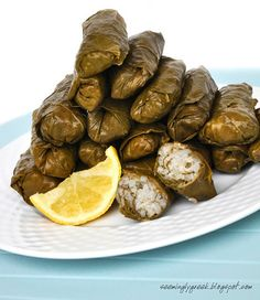 Dolmades (Wine leaves stuffed with rice and minced meat) - Greece