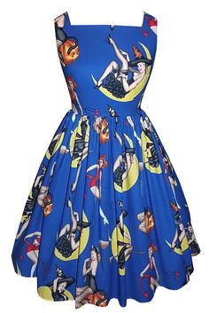 'Bewitched' - Full gathered 'Patsy' in pin up Halloween cotton. 1950s vintage style dress. £85.