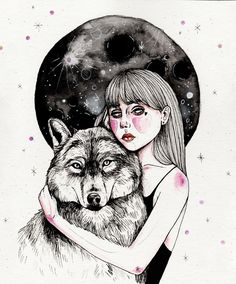 Running with the wolves. Illustration by Laura Klinke.  Instagram: lauraklinke_art  #art #illustration #wolf #girl #blackandwhite #fineliner #fineliner #heart #watercolor #moon