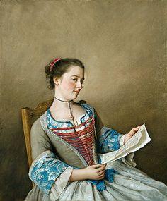 Jean Etienne Liotard: Portrait of Mlle.Lavergne, the niece of the artist.