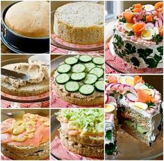 Salty cake prepared with bread, vegetables, salami and cheese Chicken Afritada Recipe, Tee Sandwiches, Catering, Sandwich Cake, How To Make Sandwich, Salty Cake, Swedish Recipes, Food Test, Everyday Food