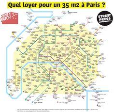 Cartographie : Le plan de métro selon les prix des loyers.