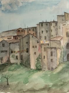 Acuarela  - Pueblo a las afueras de Roma.  Watercolor - Small Village on the outskirts of Rome. HMZEN'14