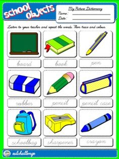 CLASSROOM OBJECTS - PICTURE DICTIONARY#