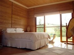 Simple rammed earth bedroom