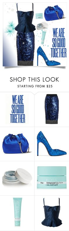 """""""Blue sequin skirt"""" by greensparkle1 ❤ liked on Polyvore featuring By Malene Birger, Diane Von Furstenberg, Yves Saint Laurent, rms beauty, KORA Organics by Miranda Kerr and Burberry"""