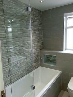 Bathroom, feature wall tiles, wall hung Diy Bathroom Reno, Grey Bathroom Tiles, Bathroom Renovations, Wall Tiles, Bathroom Ideas, Gray Bathrooms, Remodel Bathroom, Grey Feature Wall, Bathroom Feature Wall