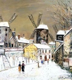 """Maurice Utrillo - """"Three mills of Montmartre in the snow"""" (1936)"""