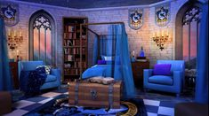 Dear Traveler, welcome to the airy Ravenclaw Dorm! If you were able to enter this room, you must've given thoughtful answers at the common room entrance ridd. Ravenclaw, Harry Potter Castle, Harry Potter Bedroom, Cute Bedroom Ideas, Bedroom Themes, Hogwarts Houses, Room Decor, Common Room, Severus Snape