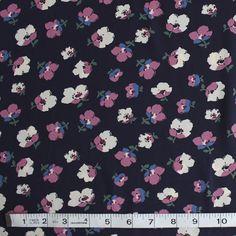 Blackbird Fabrics - Pansy Floral Polyester Crepe - Navy/Pink/Blue - 1/2 meter, $8.25 (http://www.blackbirdfabrics.com/pansy-floral-polyester-crepe-navy-pink-blue/)