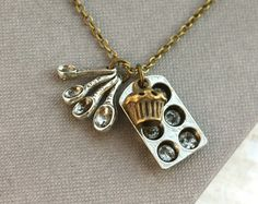 This cute spoons,cupcake,and cupcake pan necklace.