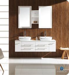 "fvn6119wh | Fresca Bellezza White Modern Double Vessel Sink Bathroom Vanity   59"" 19 3/4 x 21 1/2"" H   $1699"