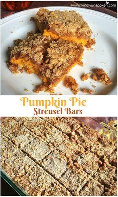 Pumpkin Pie Streusel Bars