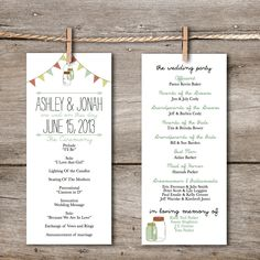 Printable Wedding Program- Rustic Vintage Banner & Mason Jar / DIY Downloadable Wedding Program / Custom Printable Program. $35.00, via Etsy.