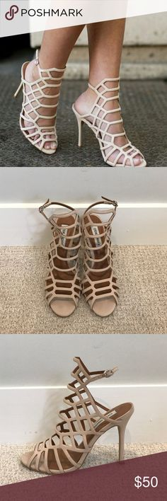 """Steve Madden SLITHUR Sandal Steve Madden SLITHUR heels in the color Blush Nubuck. Only worn once!! These stilettos stand out with their delicate yet modern strappy cage detail. They can be worn to special occasions, but they're also the perfect piece to dress up a pair of jeans!! 4.25"""" heel height. Steve Madden Shoes Heels"""