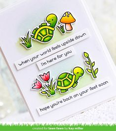 My Joyful Moments: Lawn Fawn Inspiration Week: Get Well Before 'N Afters Feel Better Cards, Happy Turtle, Lawn Fawn Blog, Lawn Fawn Stamps, Interactive Cards, Get Well Soon, Get Well Cards, Sympathy Cards, Greeting Cards