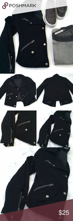 """SPARKLE & FADE black moto jacket Super cool and cozy sweatshirt material to keep you warm while running to Starbucks for your PSL fix ☕️! Hardly worn(it's a little small on me) true to size extra small. poly/cotton blend. Fully lined. Zipper pockets are real, but the snap pockets are not real. Bust 34"""", Length 22"""", Sleeve 23"""". Sparkle & Fade Jackets & Coats"""